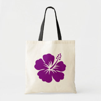 Purple hibiscus aloha flower tote bag