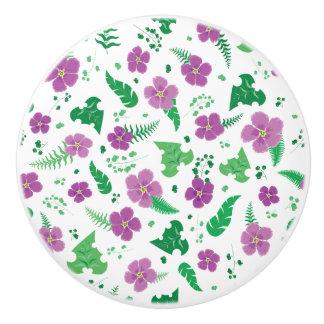Purple Hibiscus Ceramic Knob