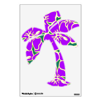 Purple Hibiscus Floral Tropical Luau Palm Tree Wall Decal