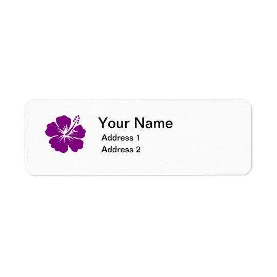 purple hibiscus flower address label