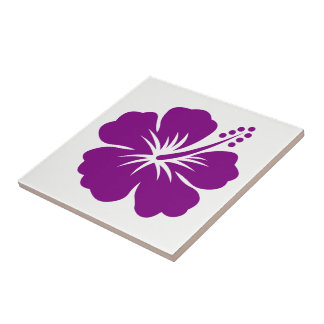 Purple Hibiscus Hawaii Theme Ceramic Tile