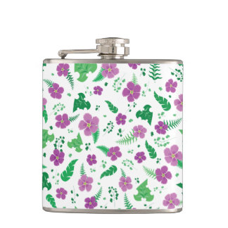 Purple Hibiscus Hip Flask