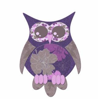 Purple Hibiscus Owl Photo Sculpture