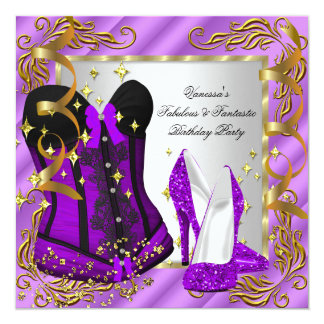 Purple High Heel Gold Silver Corset Birthday Party Card