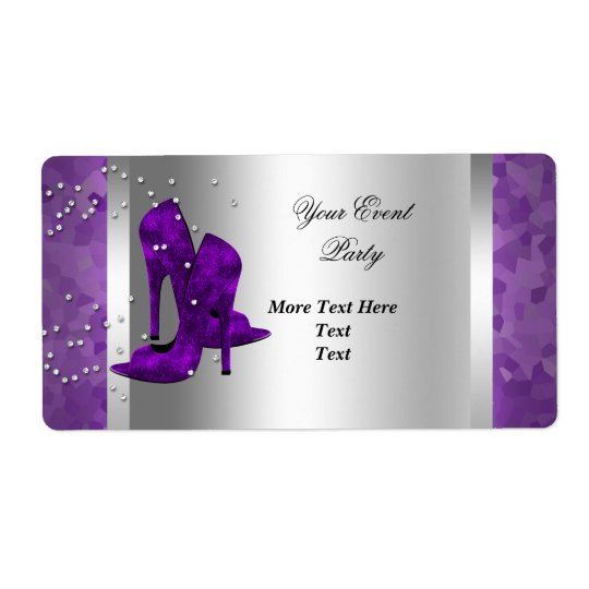 Purple High Heel Shoes Silver Event Party