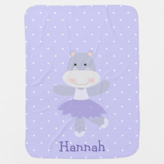Purple Hippo Ballerina Baby Girl's Blanket Swaddle Blankets