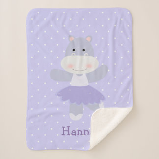 Purple Hippo Ballerina baby girl's Sherpa Blanket