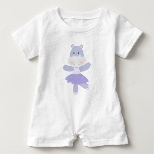 Purple Hippo Ballerina Baby Romper