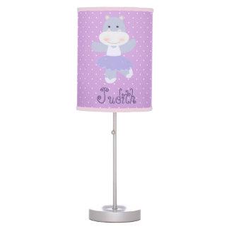 Purple Hippo Ballerina Polkadot nursery room decor Table Lamp