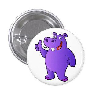 purple hippo cartoon 1 inch round button