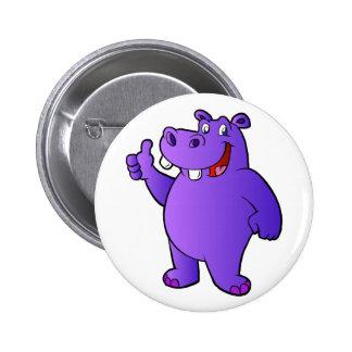 purple hippo cartoon 2 inch round button