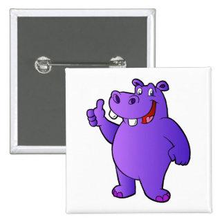 purple hippo cartoon 2 inch square button