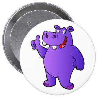 purple hippo cartoon 4 inch round button