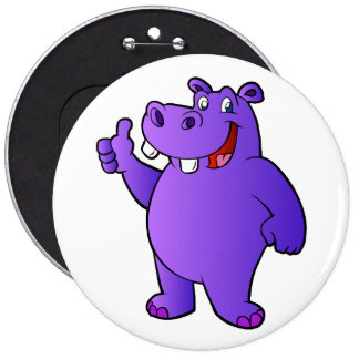 purple hippo cartoon 6 inch round button