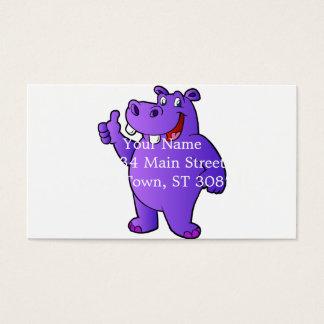 purple hippo cartoon business card