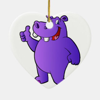purple hippo cartoon ceramic heart ornament