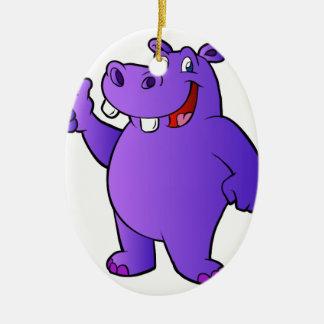 purple hippo cartoon ceramic oval ornament