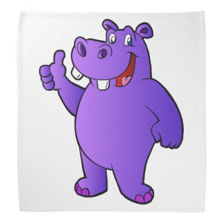 purple hippo cartoon head kerchiefs