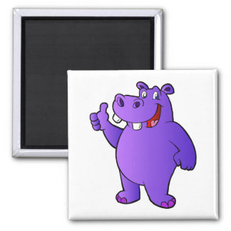 purple hippo cartoon magnet
