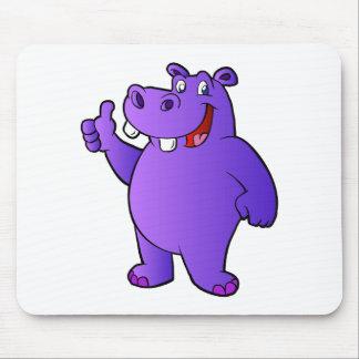 purple hippo cartoon mouse pad