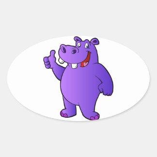 purple hippo cartoon oval sticker