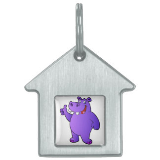 purple hippo cartoon pet tags
