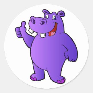 purple hippo cartoon round sticker