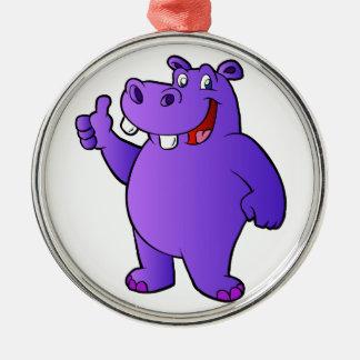 purple hippo cartoon Silver-Colored round ornament