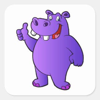 purple hippo cartoon square sticker