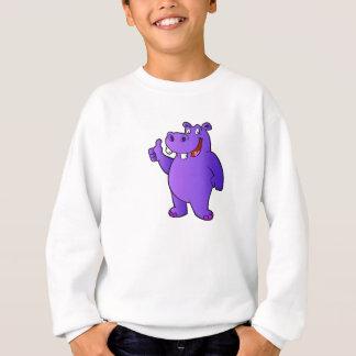purple hippo cartoon sweatshirt