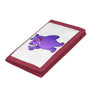 purple hippo cartoon tri-fold wallets