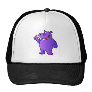 purple hippo cartoon trucker hat