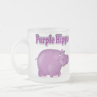 Purple Hippo Frosted Glass Coffee Mug