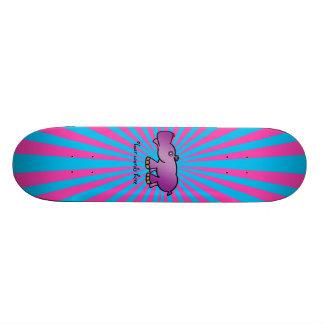 Purple hippo on pink sunburst skate boards