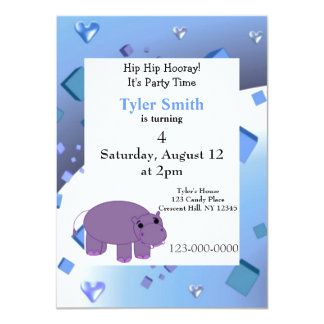 """Purple Hippo Party Invitation 4.5"""" X 6.25"""" Invitation Card"""
