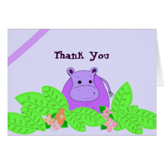 Purple Hippo Thank You Card