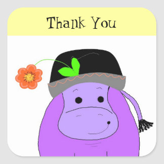 Purple HippoThank You Square Sticker