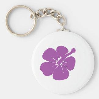 purple hisbiscus A Basic Round Button Keychain