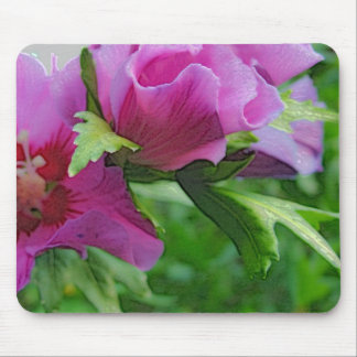 Purple hisbiscus flowers mouse pad