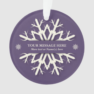 Purple Holiday Snowflake + Name and Message Photo Ornament