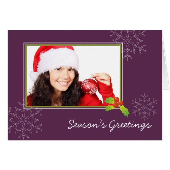 Purple holly multi photo Christmas holiday folded Card
