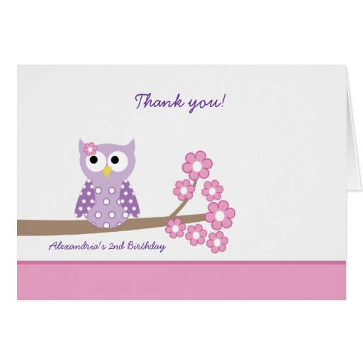 Purple Hoot Owl Girl Birthday Thank you Card Pink Greeting Cards