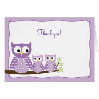 Purple Hoot Owls Folded Thank you note card