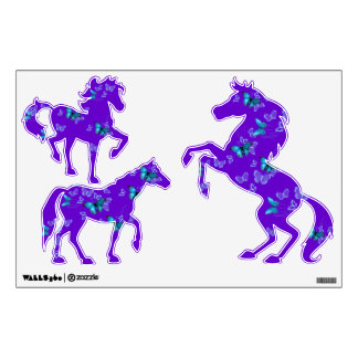Purple Horses Blue Butterflies Wall Decal