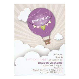 """Purple Hot Air Balloon & Clouds Kids' Birthday 5"""" X 7"""" Invitation Card"""