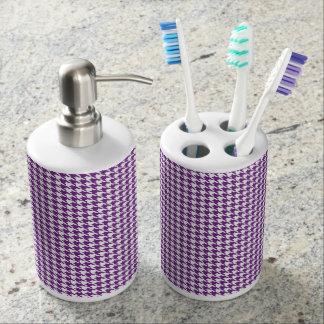Purple Houndstooth Abstract Bathroom Set