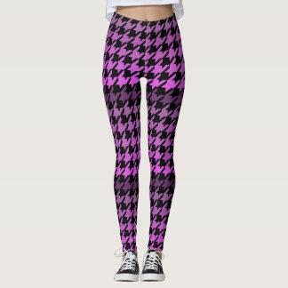 Purple houndstooth checkered pattern leggings