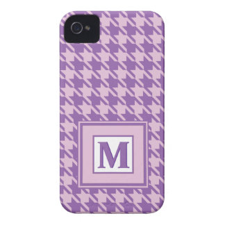 Purple Houndstooth Pattern Monogram iPhone 4 Case
