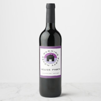 Purple House Logo, Housewarming Party Wine Label