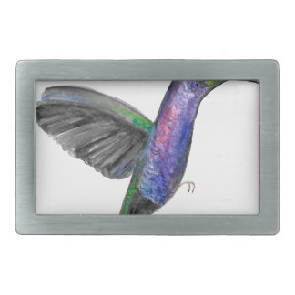 Purple hummingbird watercolour belt buckle
